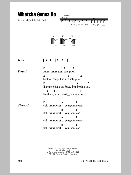 Whatcha Gonna Do Sheet Music