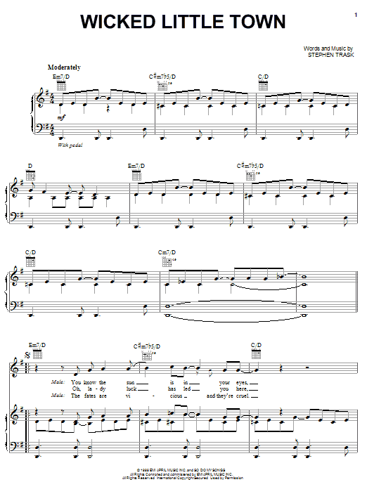 Wicked Little Town (Piano, Vocal & Guitar (Right-Hand Melody))