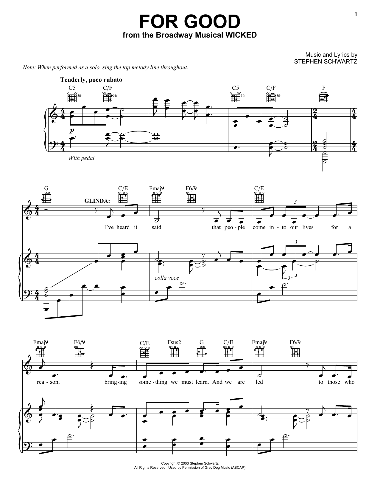 Partition piano For Good (from Wicked) de Stephen Schwartz - Piano Voix Guitare (Mélodie Main Droite)