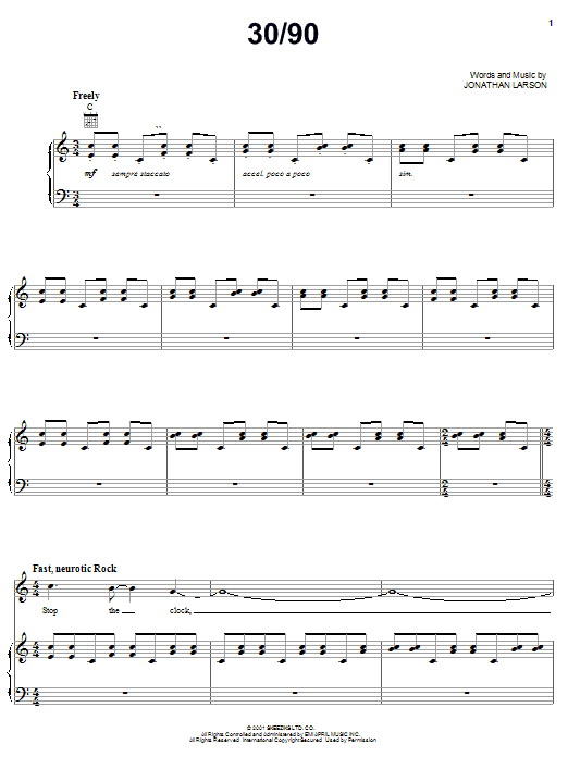 Partition piano 30/90 de Jonathan Larson - Piano Voix Guitare (Mélodie Main Droite)