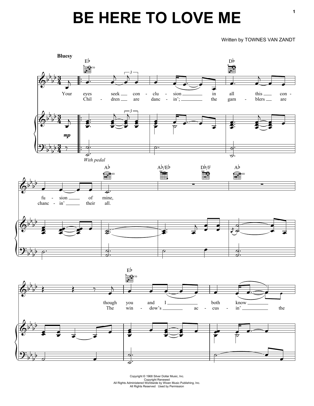 Be Here To Love Me Sheet Music