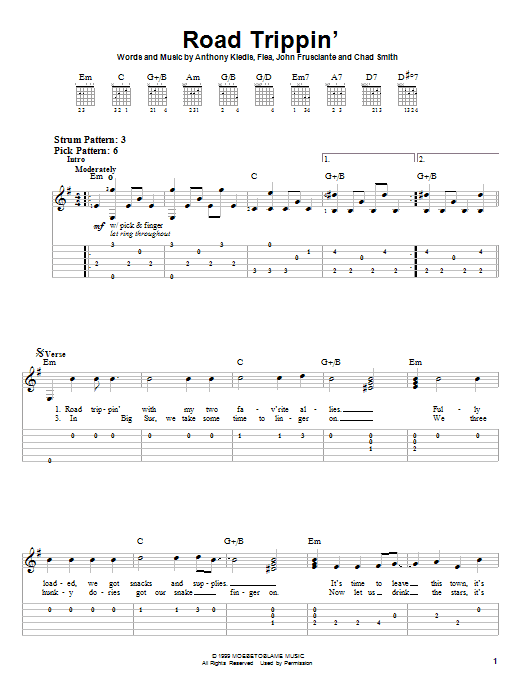Tablature guitare Road Trippin' de Red Hot Chili Peppers - Tablature guitare facile