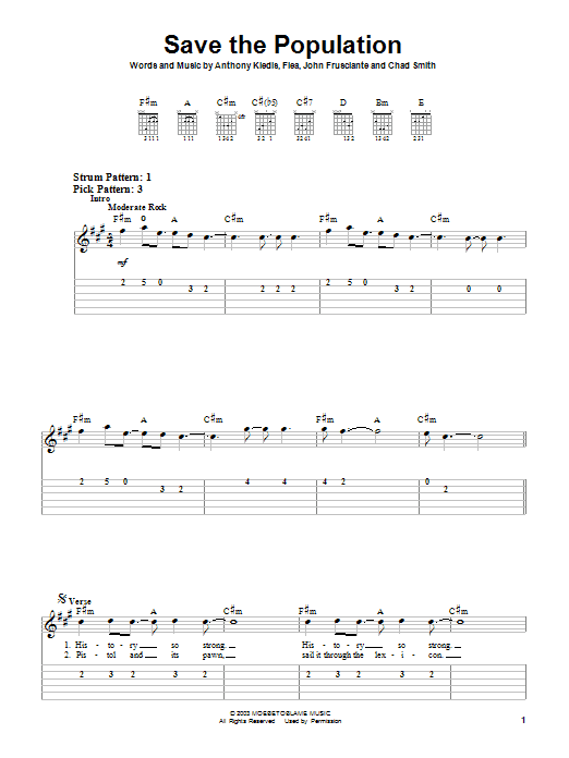 Save The Population Sheet Music