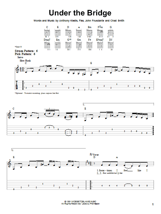 Tablature guitare Under The Bridge de Red Hot Chili Peppers - Tablature guitare facile