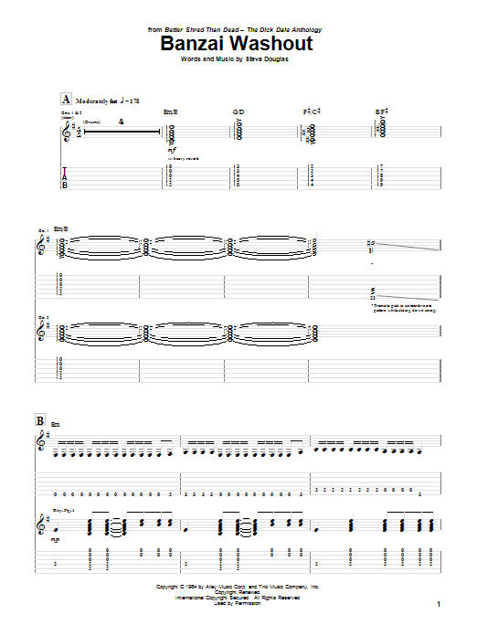 Tablature guitare Banzai Washout de Dick Dale - Tablature Guitare