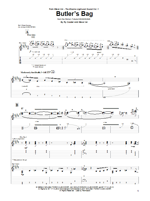 Butlers Bag By Steve Vai Guitar Tab Guitar Instructor