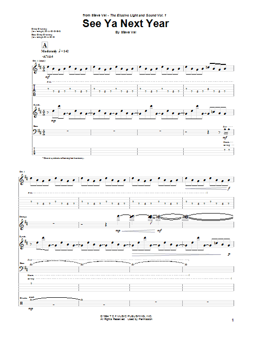 Tablature guitare See Ya Next Year de Steve Vai - Tablature Guitare