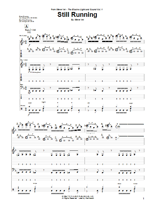 Tablature guitare Still Running de Steve Vai - Tablature Guitare