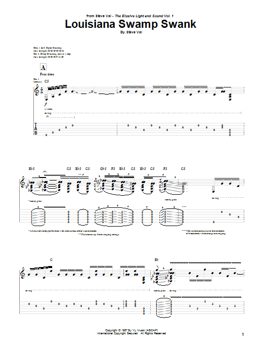 Louisiana Swamp Swank (Guitar Tab)