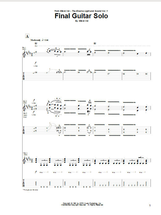 Final Guitar Solo Sheet Music