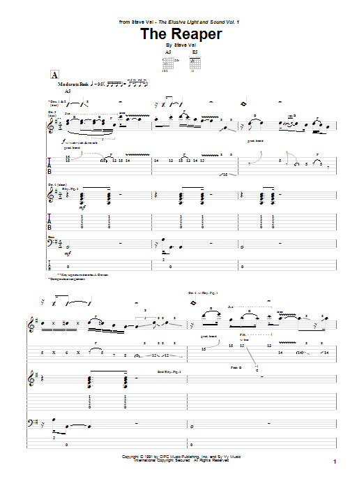 Tablature guitare The Reaper (from Bill And Ted's Bogus Journey) de Steve Vai - Tablature Guitare