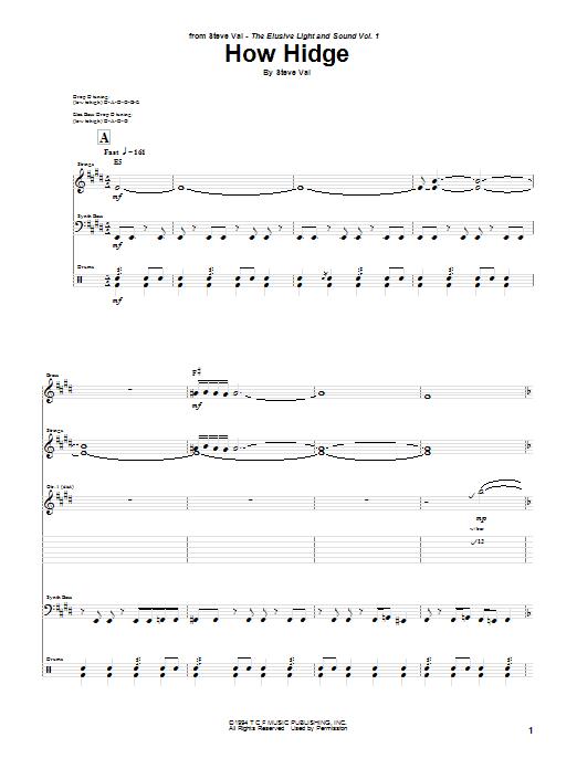 Tablature guitare How Hidge de Steve Vai - Tablature Guitare