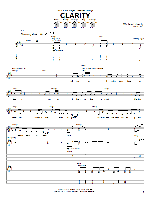 Tablature guitare Clarity de John Mayer - Tablature Guitare