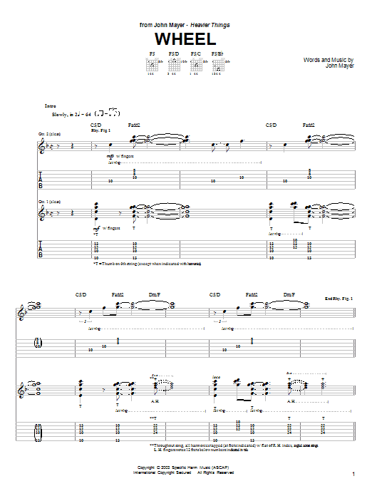 Tablature guitare Wheel de John Mayer - Tablature Guitare
