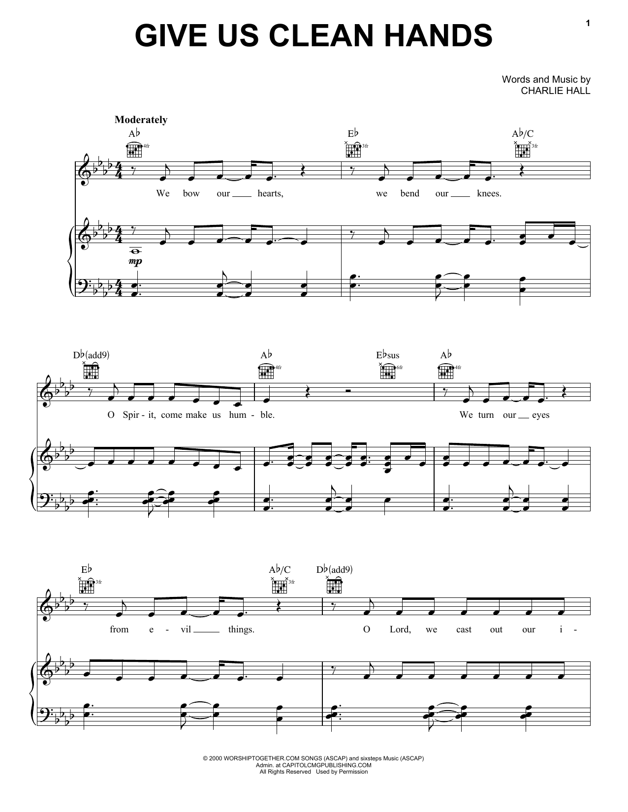 Give Us Clean Hands (Piano, Vocal & Guitar (Right-Hand Melody))