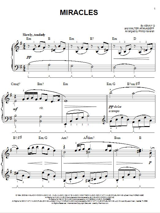 Partition piano Miracles de Kenny G - Piano Facile