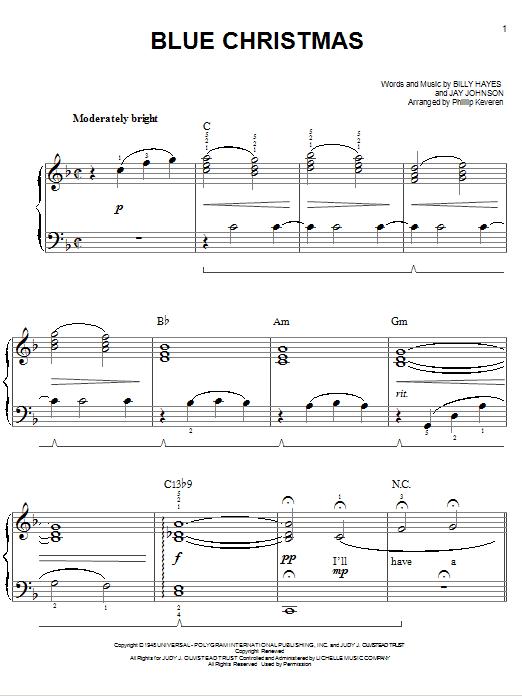 Partition piano Blue Christmas de Elvis Presley - Piano Facile