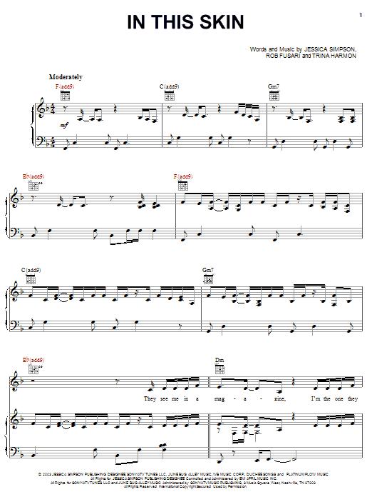 Partition piano In This Skin de Jessica Simpson - Piano Voix Guitare (Mélodie Main Droite)