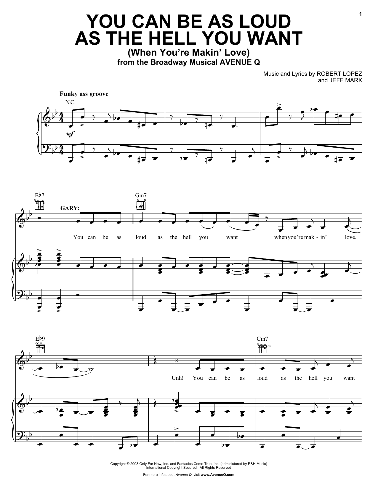 You Can Be As Loud As The Hell You Want (When You're Makin' Love) Sheet Music