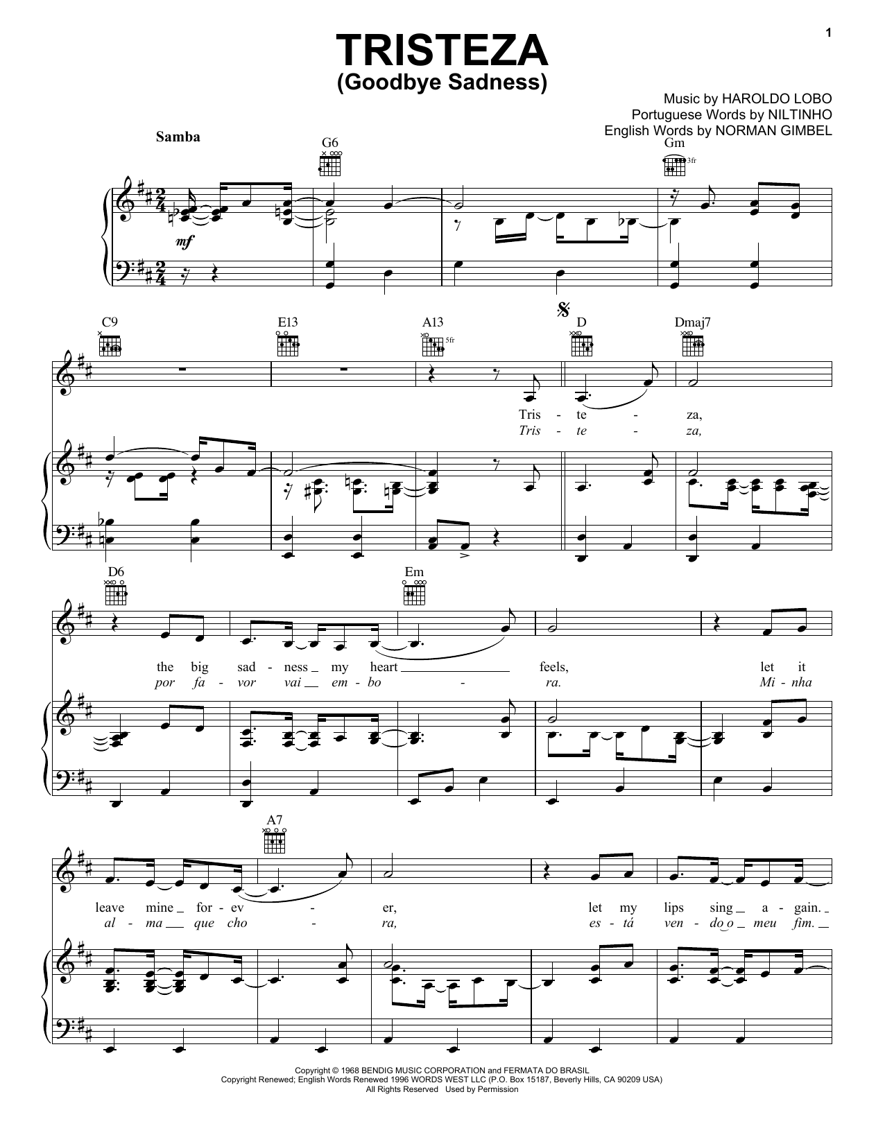 Tristeza (Goodbye Sadness) (Piano, Vocal & Guitar (Right-Hand Melody))
