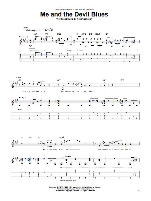 Tablature guitare Me And The Devil Blues de Eric Clapton - Tablature Guitare
