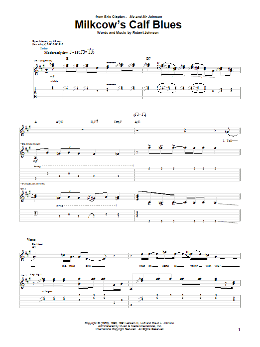 Milkcow's Calf Blues Sheet Music