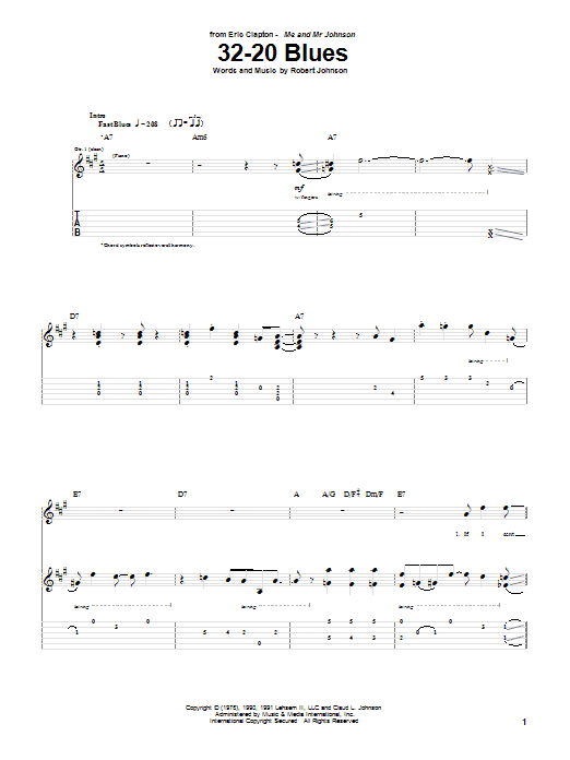 32-20 Blues (Guitar Tab)