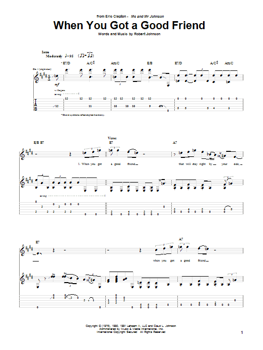 Tablature guitare When You Got A Good Friend de Eric Clapton - Tablature Guitare
