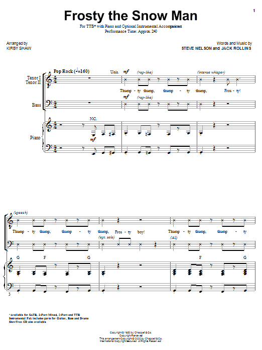 Frosty The Snowman (arr. Kirby Shaw) Sheet Music