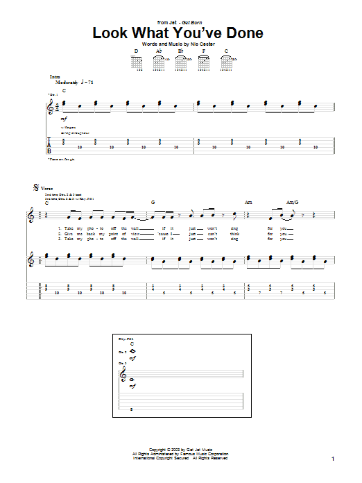 Tablature guitare Look What You've Done de Jet - Tablature Guitare