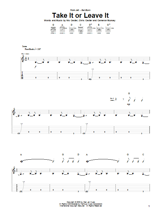 Tablature guitare Take It Or Leave It de Jet - Tablature Guitare