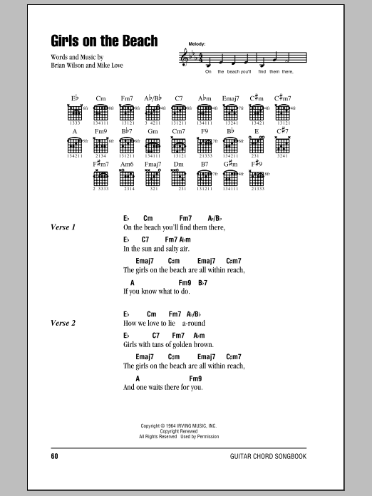 Girls On The Beach Sheet Music