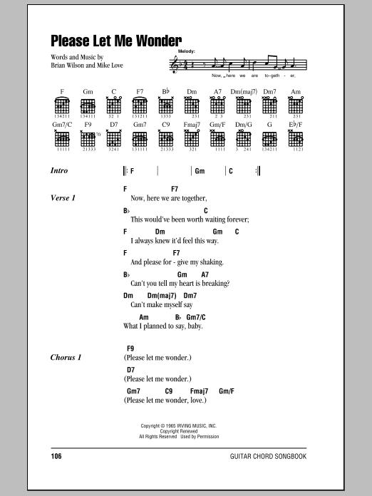 Please Let Me Wonder (Guitar Chords/Lyrics)