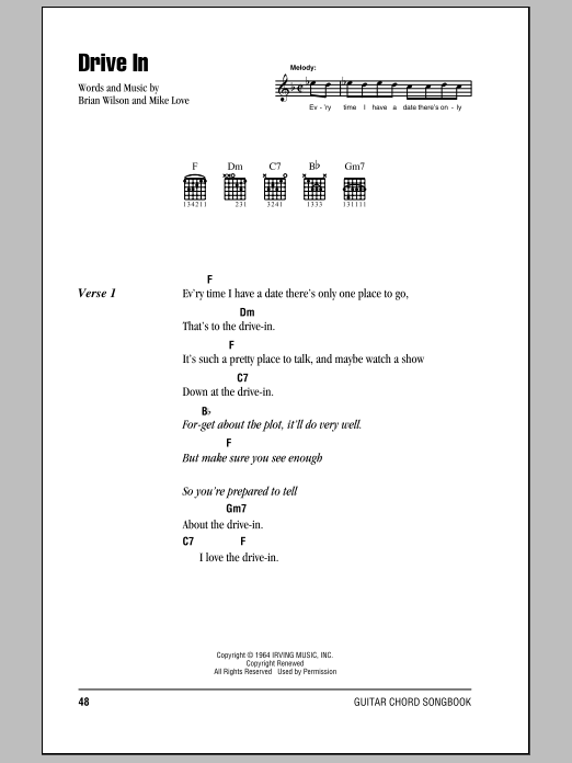Drive In Sheet Music