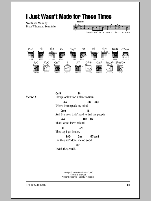 I Just Wasn\'t Made For These Times sheet music by The Beach Boys ...