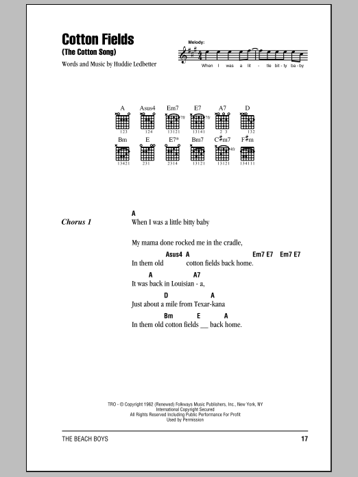 Cotton Fields (The Cotton Song) Sheet Music