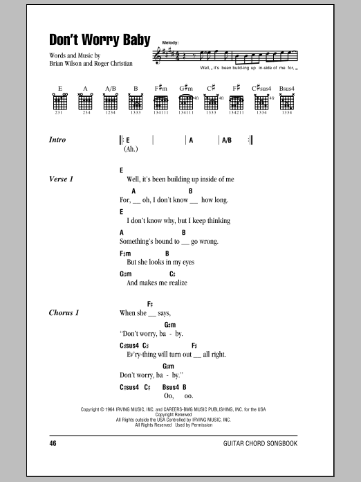 Don\'t Worry Baby by The Beach Boys - Guitar Chords/Lyrics - Guitar ...