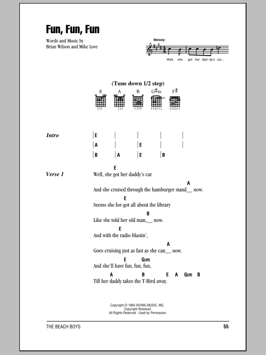 Fun, Fun, Fun by The Beach Boys - Guitar Chords/Lyrics ... - photo#17
