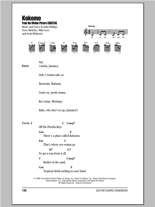 Kokomo Sheet Music