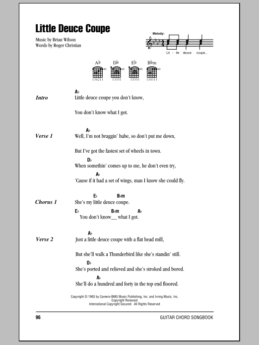 Little Deuce Coupe sheet music by The Beach Boys (Lyrics ... - photo#42