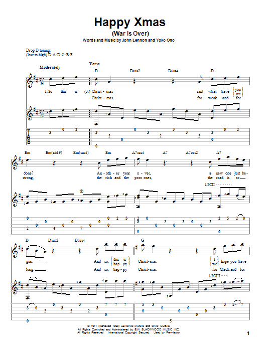Tablature guitare Happy Xmas (War Is Over) de John Lennon - Tablature Guitare