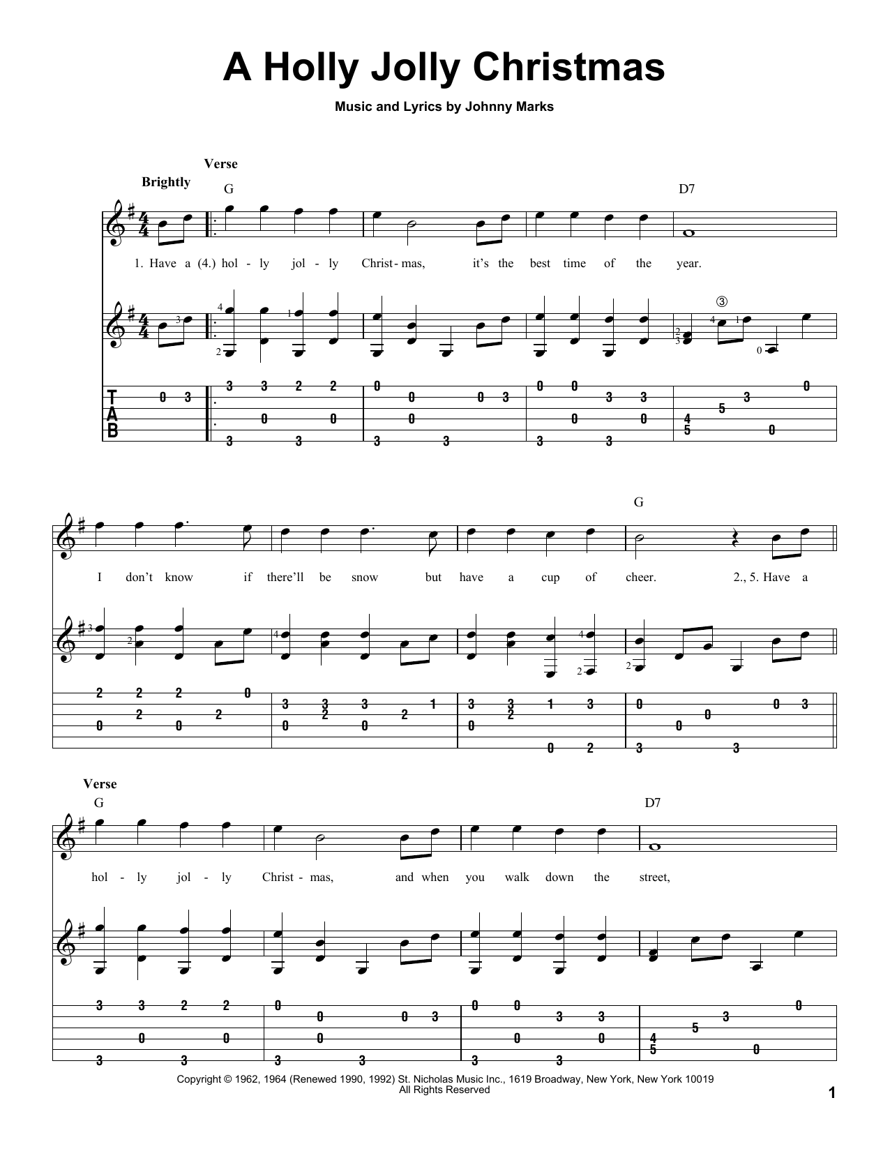 A Holly Jolly Christmas Guitar Tab by Johnny Marks (Guitar Tab – 83194)