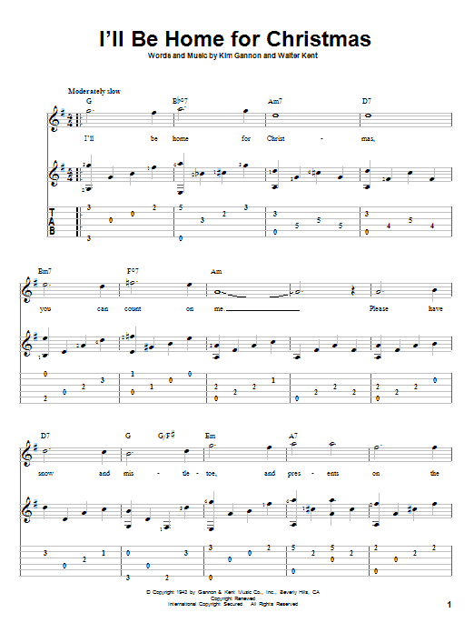 Tablature guitare I'll Be Home For Christmas de Bing Crosby - Tablature Guitare