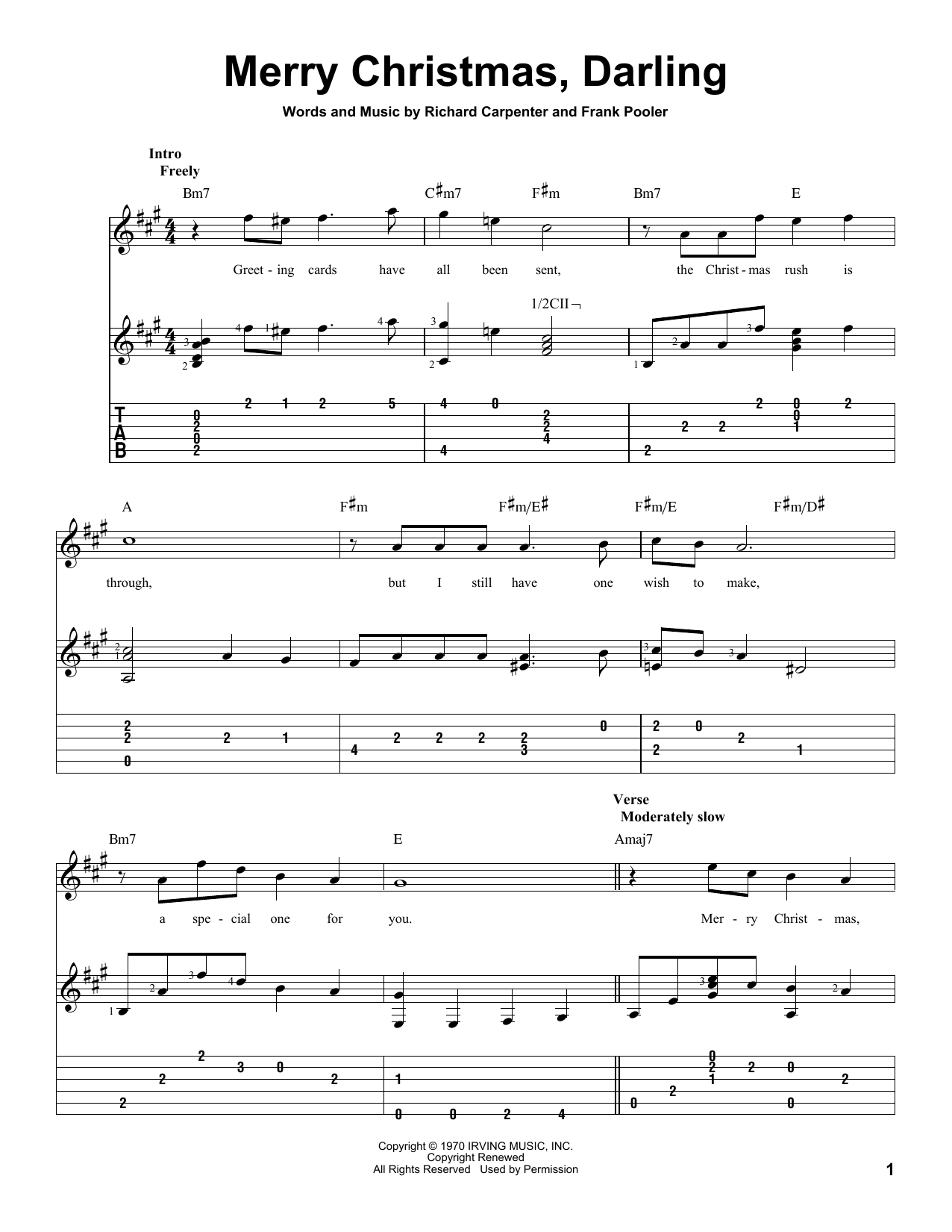 Tablature guitare Merry Christmas, Darling de Carpenters - Tablature Guitare