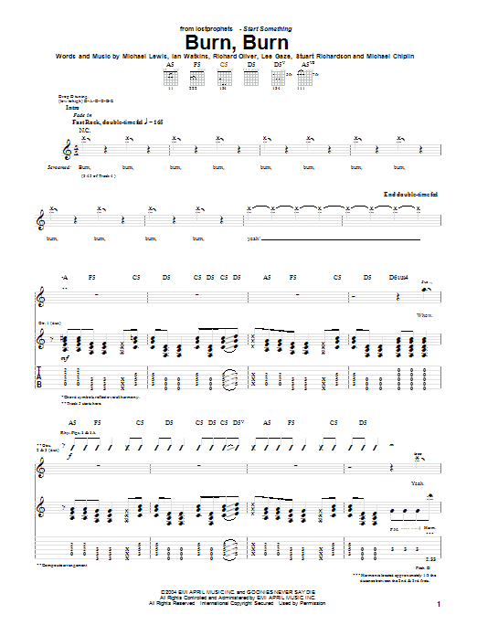 Burn, Burn Sheet Music