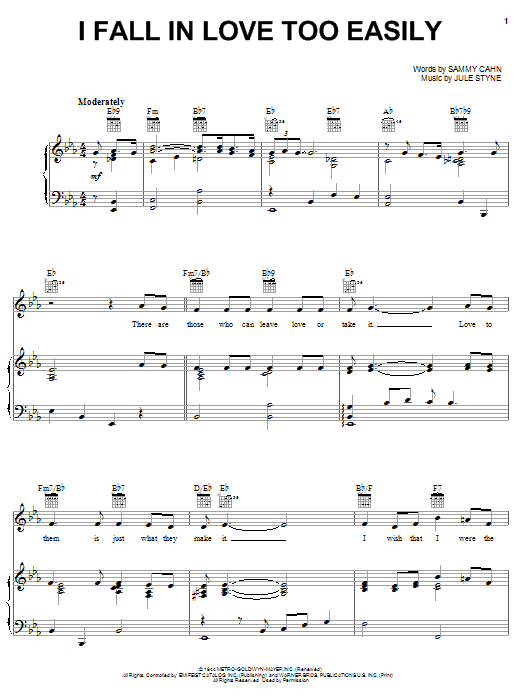 I Fall In Love Too Easily Sheet Music