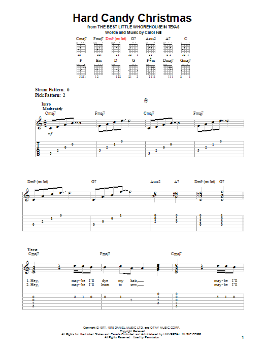 Hard Candy Christmas by Dolly Parton - Easy Guitar Tab - Guitar ...