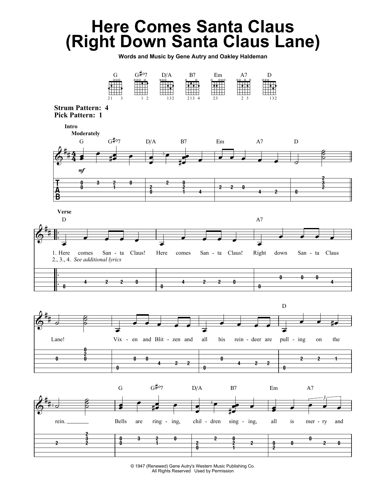 Here Comes Santa Claus (Right Down Santa Claus Lane) (Easy Guitar Tab)