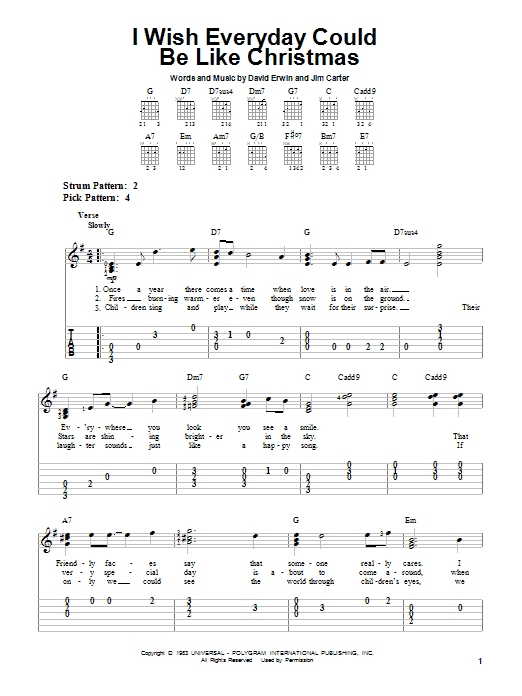 Tablature guitare I Wish Everyday Could Be Like Christmas de Brook Benton - Tablature guitare facile