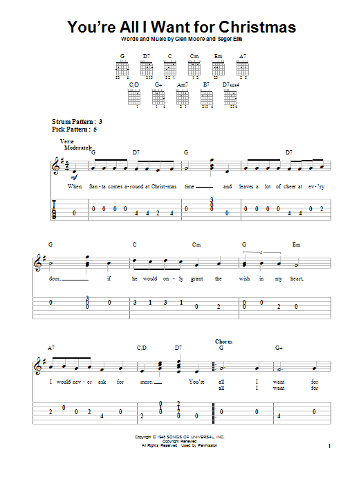 You're All I Want For Christmas by Brook Benton - Easy Guitar Tab ...